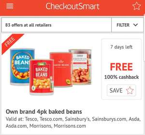 Selected Store Brand 4 Pack of Baked Beans £1 - Free At CheckoutSmart plus 15p at Topcashback