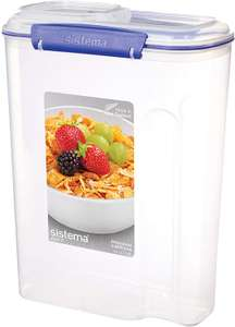Sistema Cereal Storage Container with Clip, Blue, 4.2 Litre £5.99 at Amazon (+£4.49 Non Prime)