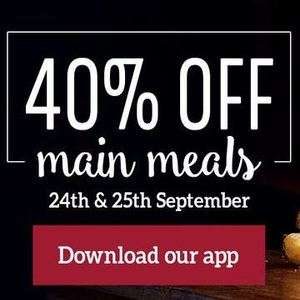 40% off any main meals for upto 4 per table - e.g roast dinner with unlimited veg for £4.49 at Toby Carvery with the Toby Carvery App