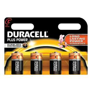 """Duracell Plus Power pack of 4 """"C"""" Batteries - £1.94 instore only @ Asda"""