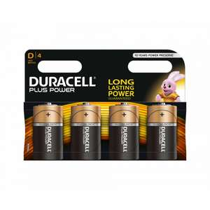 """Duracell Plus Power pack of 4 """"D"""" Batteries - £1.94 instore only @ Asda"""