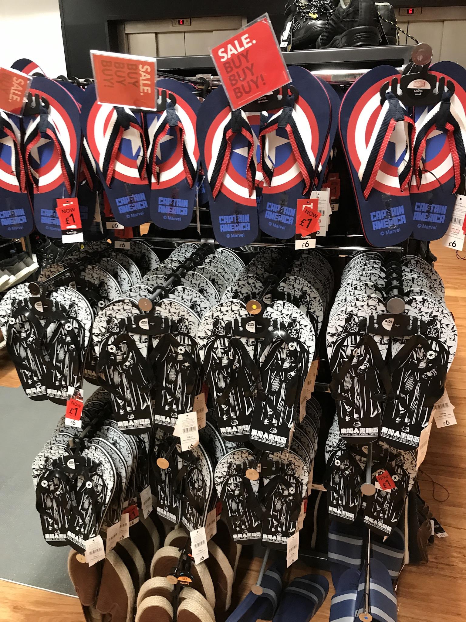 Captain America & Darth Vader flipflops £1 in Asda (Sheffield)
