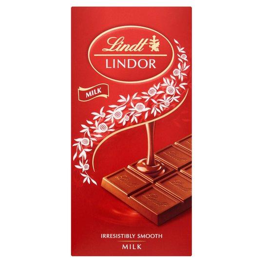 Lindt Lindor 100g Bars (Milk, White & Orange Variety) £1 at Sainsburys
