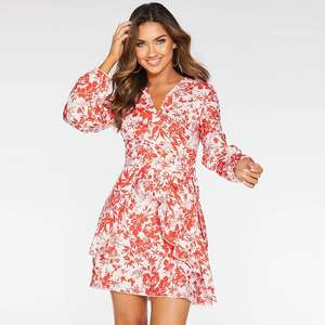 Quiz - White and Red Floral Long Sleeves Frill Dress £12.99 + Free Delivery @ Debenhams