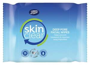 Boots Skin Clear Deep Cleansing Wipes 25s - 67p per pack (£2 for 3 packs on 3 for 2 offer) @ Boots (c&c £1.50 or free with £10 spend)