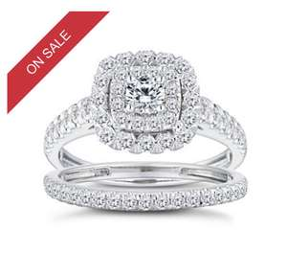 18ct White Gold 1ct Diamond Cushion Bridal Ring Set – £1,249 @ Ernest Jones + free delivery