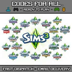 The Sims 3 Base Game £5.55 /  Expansion Packs Origin for PC / Mac from £2.99 at codesforall eBay