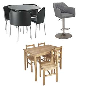 15% off a £75+ Spend On Selected Dining Furniture - EG: Amparo Black Dining Table & 4 Black Chairs £101.99 @ Argos - Free Click & Collect