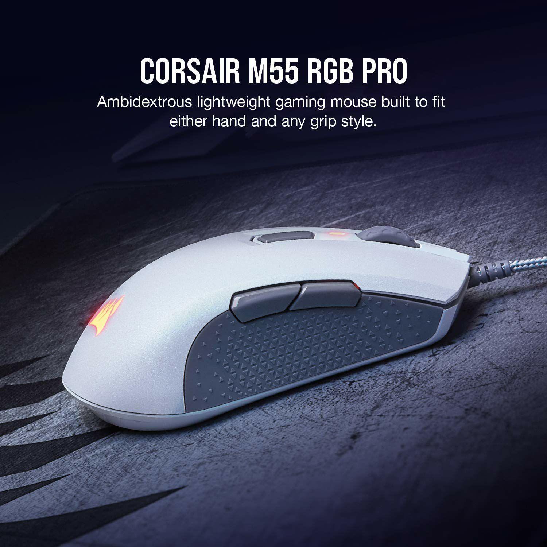 Corsair M55 PRO RGB, Ambidextrous Multi-Grip Optical Gaming Mouse (12400 DPI Optical Sensor  86g weight @Amazon