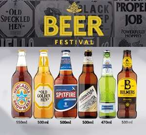 Morrisons Beer Festival - Wainwright Golden Ale 500ml - Newcastle Brown Ale 550ml  - Spitfire Premium Ale 500ml + more £1 each