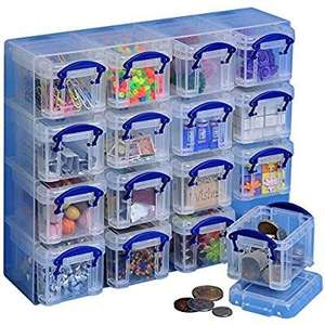 Really Useful Organiser, 16 x 0.14 Litre Storage Boxes in a Clear Plastic Organiser and Clear Boxes £4.80 (+£4.49 Non Prime) @ Amazon