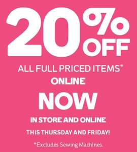 20% off all full priced items at Hobbycraft online/instore - Ends 27/09