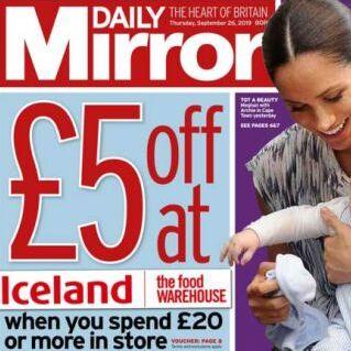 Iceland voucher £5 off £20 spend  in todays Daily Mirror - 75p