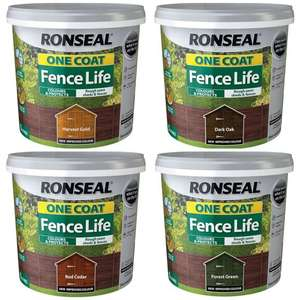 Ronseal One Coat Fence Life Wood Paint (All Colours) 5L for £2 @ Wilko (c&c £2 / instore /also Cuprinol Garden Shades All 2.5L paints £5.50)