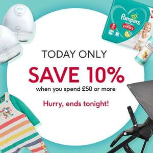 One Day Baby Event - Extra 10% Off 1000s of baby products when you spend £50 online @ Boots (stacks with existing offers)