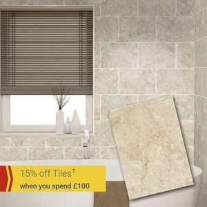 15% Off Tiles When Spending £100+ Works on Full Price & Existing Offers @ Wickes