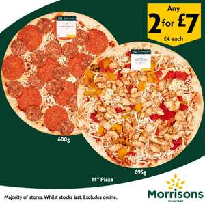 Any 14 inch Pizza 2 for £7 @ Morrisons instore