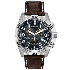 Citizen Men's 'Eco-Drive' Brycen Titanium Perpetual Calendar Leather Watch, £134 at H.Samuel with code