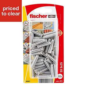 Fischer Nylon Solid wall plug, Pack of 50, £1 at B&Q (Free C&C)