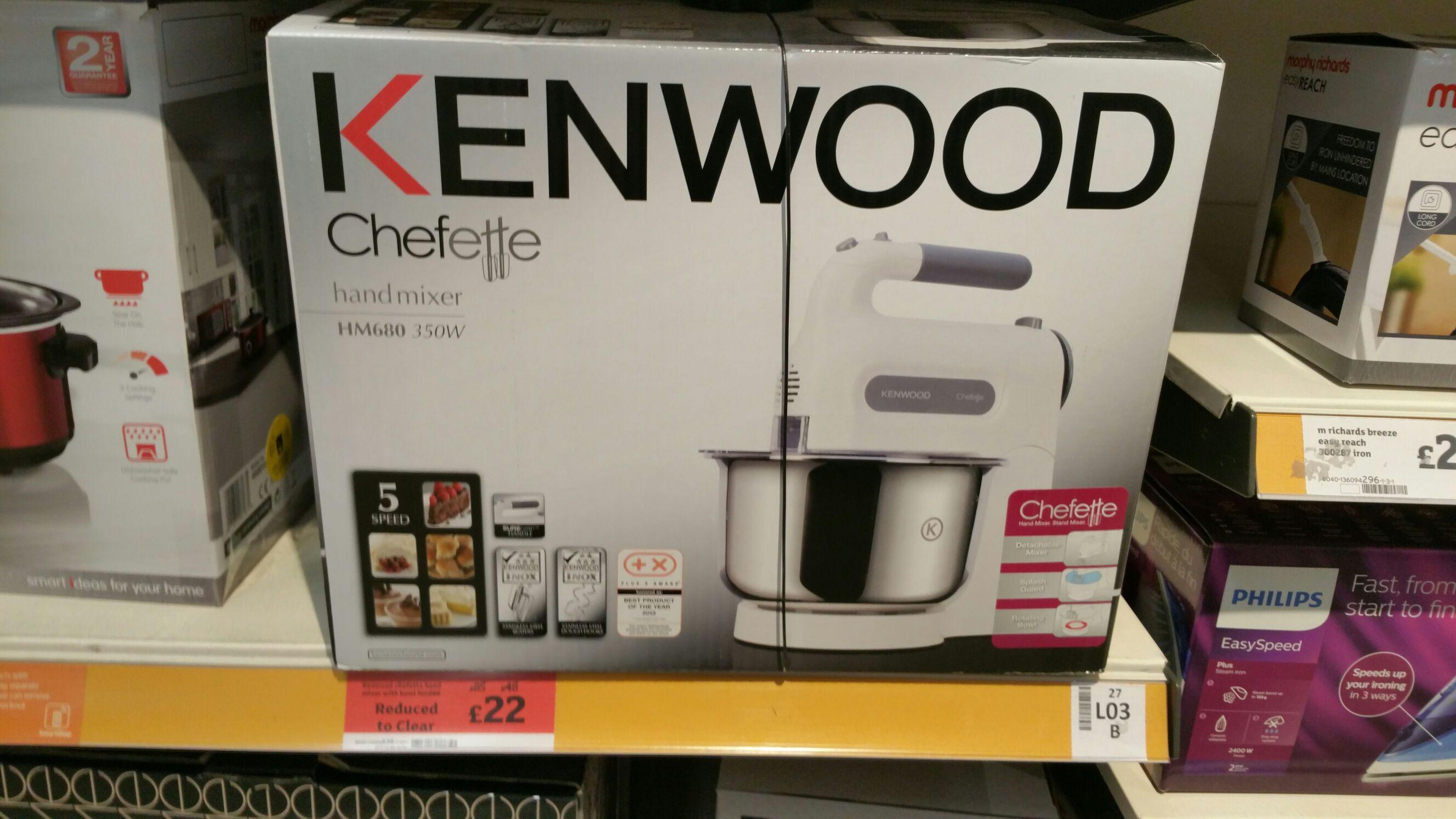 Kenwood Chefette HM680 Hand Mixer with Bowl - White £22 @ Sainsburys (Middlesbrough)