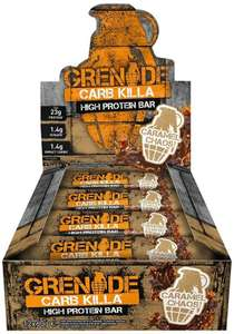 Grenade Carb Killa High Protein Low Carb Sugar Bar Pack 24x 60g Variety Flavours £28.21 with code @  xsitems_ltd / ebay