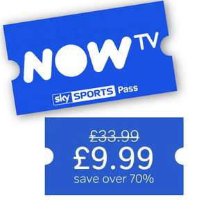 1 Month SkySports Pass from Now TV Direct. £9.99. New and Existing Customers