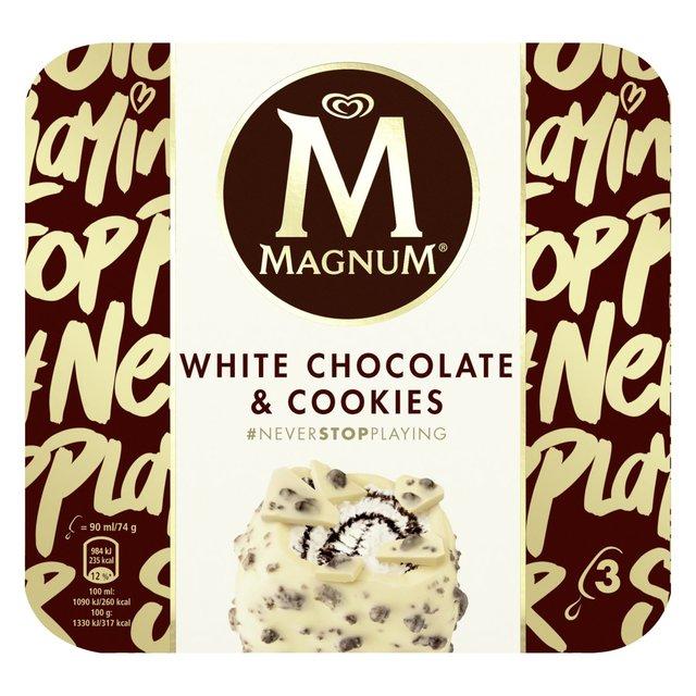 Magnum White Chocolate & Cookies 3x90ml and Chocolate & Hazelnut Praline 3x90ml - £2 per box @ Sainsbury's