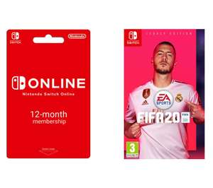 NINTENDO Switch 12 month Online Membership & FIFA 20 Switch £44.99 @  Currys