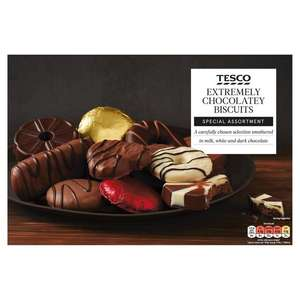 Tesco Extremely Chocolatey Biscuits, Special Assortment (Milk, Dark And White Chocolate) 450g, £3  @ Tesco