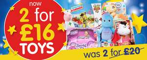 Big selection of toys 2 for £16 at B&M