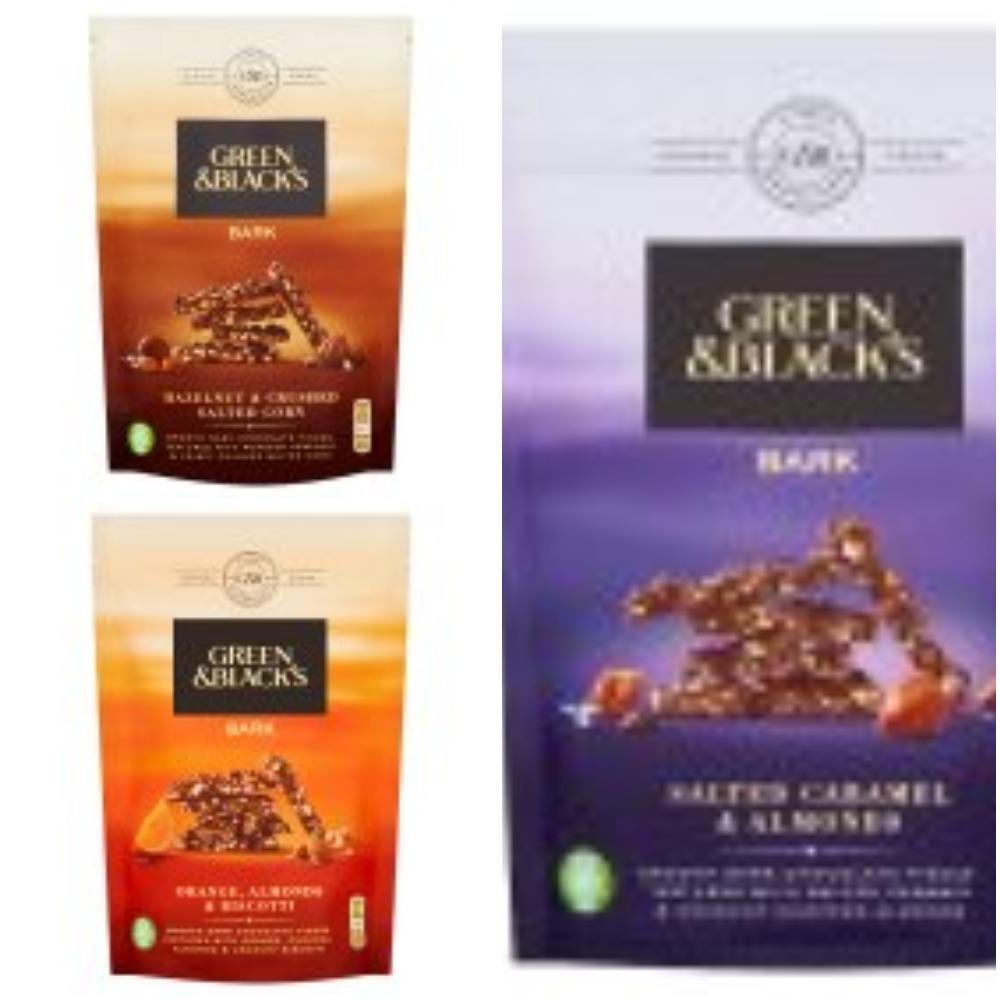 Green & Black's Dark Chocolate Salted Caramel & Almonds  Bark Bag 120g @ Fulton Foods
