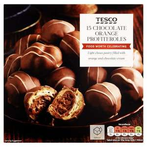 Tesco Chocolate Orange Profiteroles 15 per pack - 270G £2 or 3 for £5 (Various Party food 3 for £5) @ Tesco