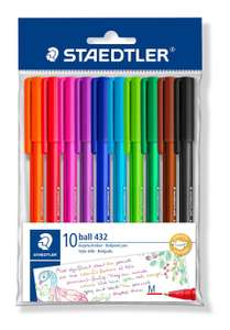 STAEDTLER 43235MBP10 Medium Rainbow Ballpoint Pens, Assorted Colours (Pack of 10) - £1.60  @ Amazon (£2.59 NP)