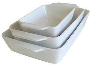 George Home White Ceramic Roasters - Set of 3 for £5 @ Asda or George (free c&c)