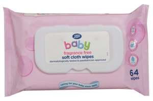 Boots Baby Soft Cloth Wipes, fragrance free, single pack = 64 wipes - 75p @ Boots (Instore or +£1.50 C&C)