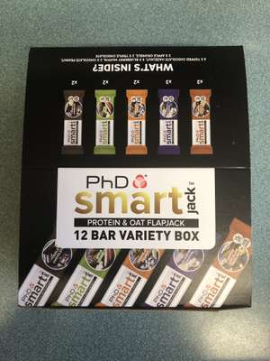 PhD Smart 12 bar variety box protein & oat flapjack (60g each) in Aldi instore