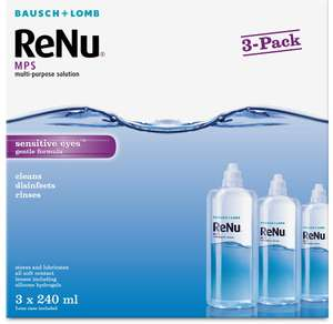Bausch + Lomb ReNu contact lens solution 3 x 240ml £8.50 prime / £12.99 non prime at Amazon