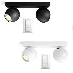 Philips Hue Buckram 5.5W GU10 230V App Controllable Spotlights + Switch  £64.99 With Free Click & Collect @ Argos - White or Black In Stock