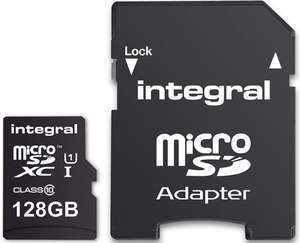 Integral 128 GB microSDXC Class 10 Memory Card Up to 80 MB/s with 5 Year warranty £13.95 at Amazon Prime / £18.44 Non Prime