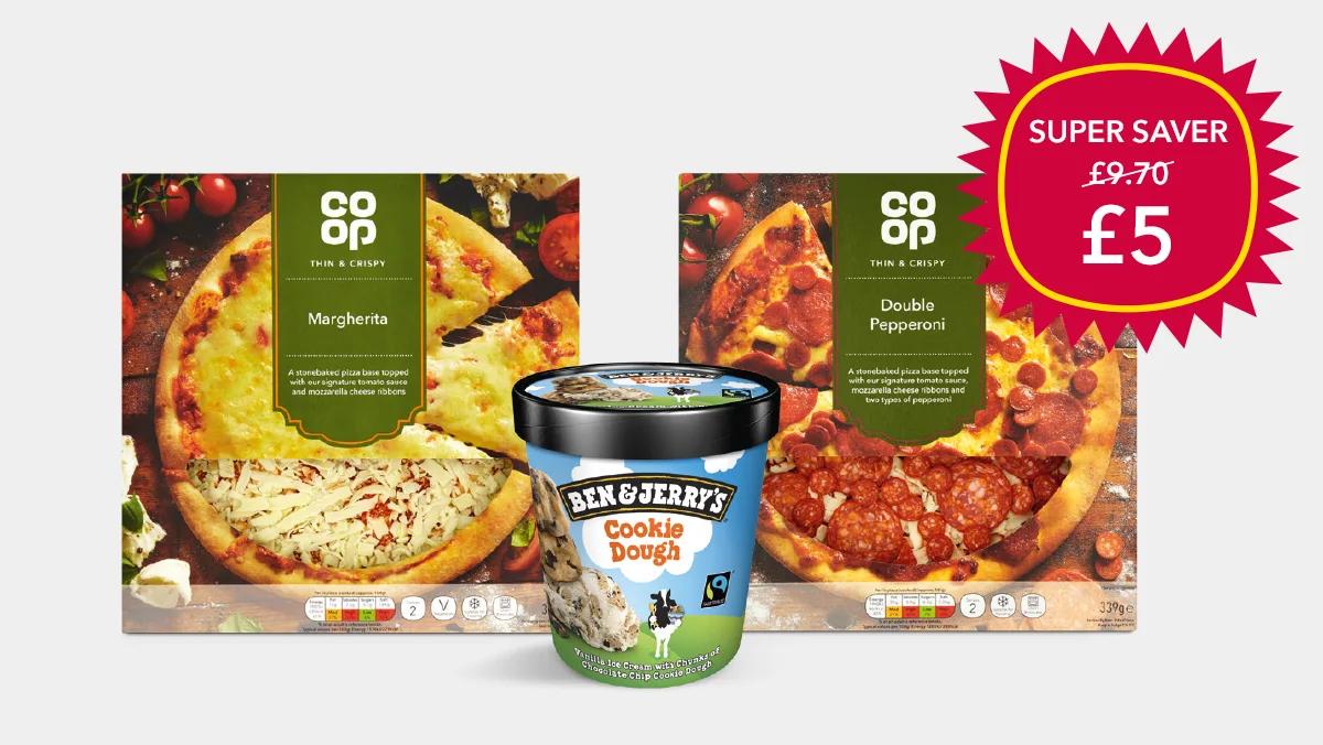 Co-op Super saver - 2 Fresh thin & crispy Pizzas + 1 Ben & Jerry's 500ml Ice cream Tub £5