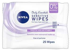 Nivea Cleansig face wipes for sensitive skin at Asda in Strood - 63p