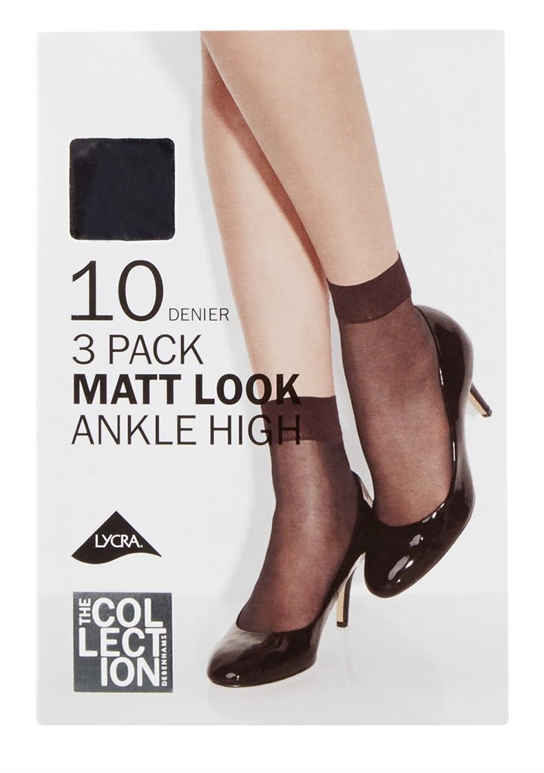 3 Pack Black Matte Ankle Highs 63p @ Debenhams Free C&C