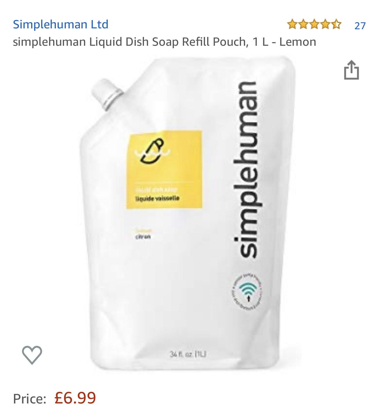 simplehuman Liquid Dish Soap Refill Pouch, 1 L - Lemon £6.99 (Prime) / £11.48 (non Prime) at Amazon