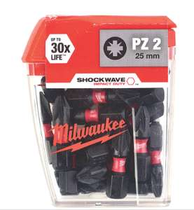 Milwaukee shockwave impact screwdriver bits pz2 x 25mm ( 25 pack ) £5.99 @ Screwfix ( C&C)