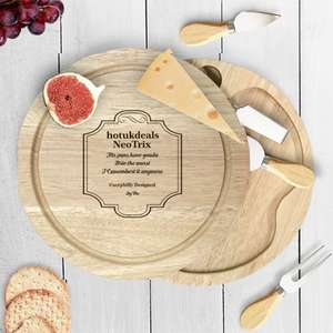 Custom Engraved Wooden Cheese Board + 1 cheese fork & 3 cheese knives £11.95 del. For New Accounts with code @ Personalised Gift Shop