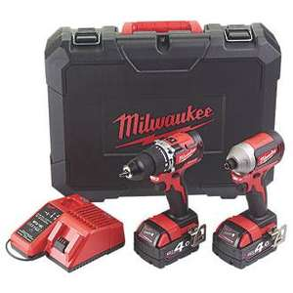 Milwaukee M18 CBLPP2A-402C 18V 4.0Ah Li-Ion RedLithium Brushless Cordless Combi Drill & Impact Driver Twin Pack £229.99 @ Screwfix
