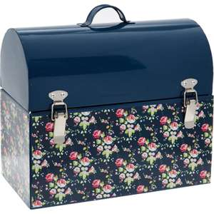 Navy Blue Floral Print Storage Box 25cm x 29cm now £9.99 click & collect @ TK Maxx
