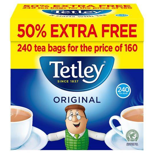 Tetley 50% Free 240 Tea Bags £3 @ Iceland