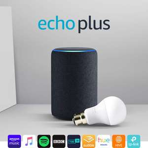 Echo Plus (2nd Gen), Charcoal Fabric + Philips Hue White bulb B22 - £139.99 @ Amazon