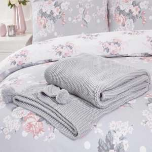 Large Chunky Knitted Pom Pom Throw / Silver Grey £19.99 delivered @ Online Home Shop